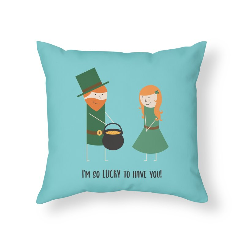 Lucky Home Throw Pillow by {mostly} Smiling Sticks