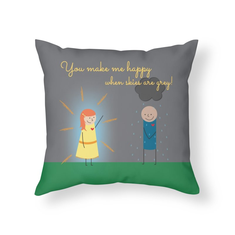 Sunshine Home Throw Pillow by {mostly} Smiling Sticks