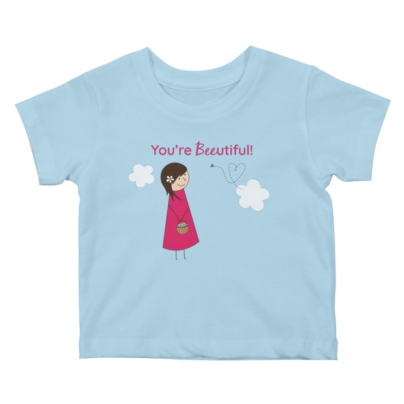 Bee-utiful Kids Baby T-Shirt by {mostly} Smiling Sticks