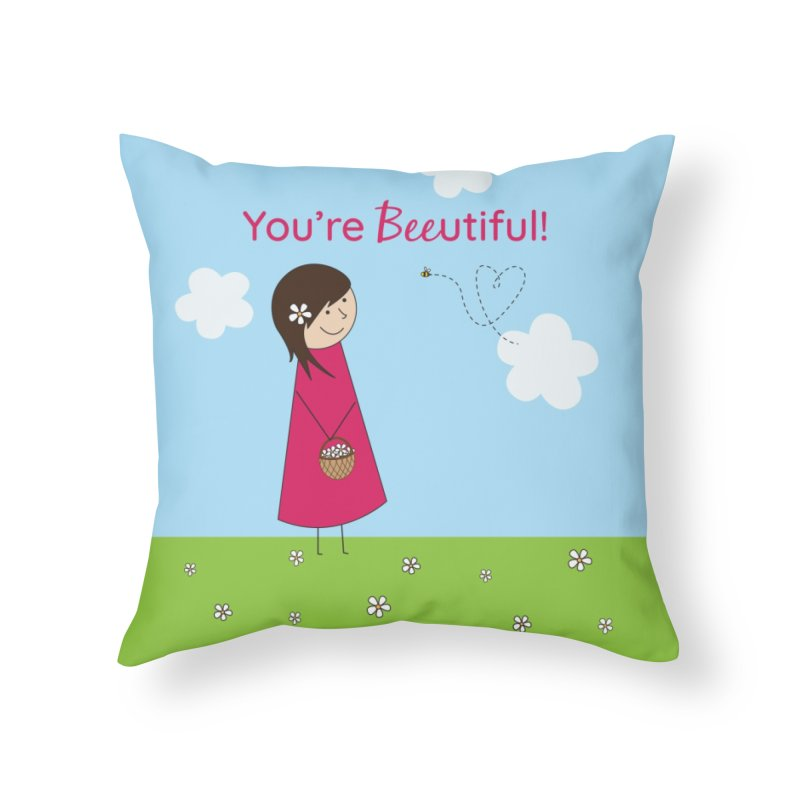Bee-utiful Home Throw Pillow by {mostly} Smiling Sticks