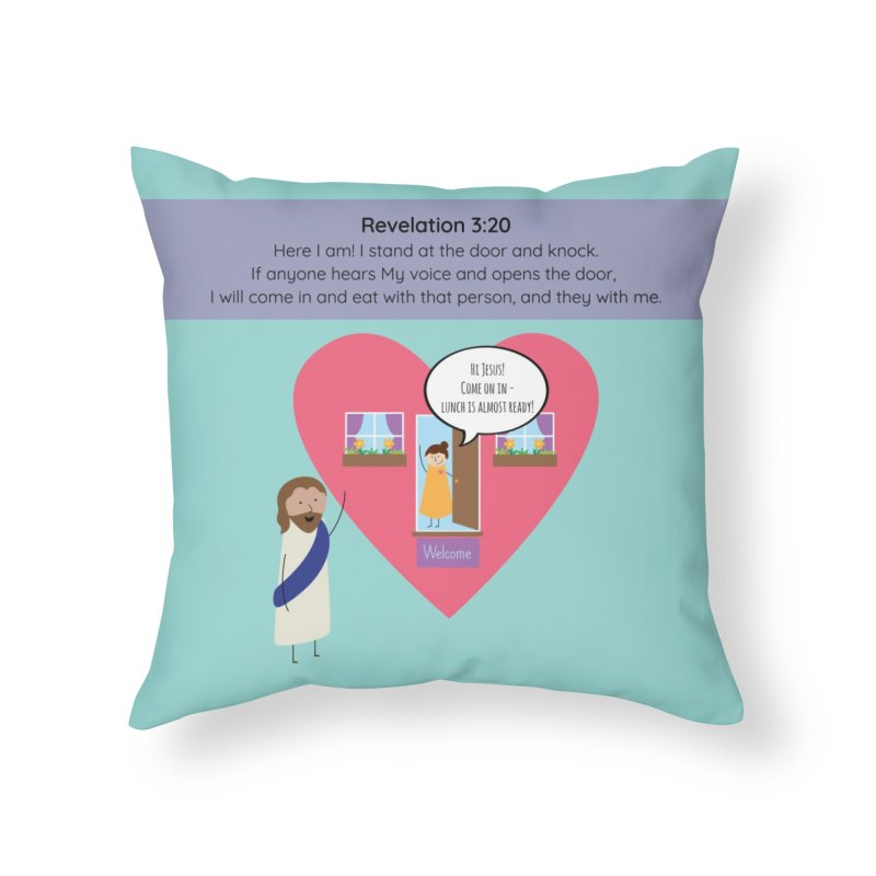 Hi Jesus Home Throw Pillow by {mostly} Smiling Sticks