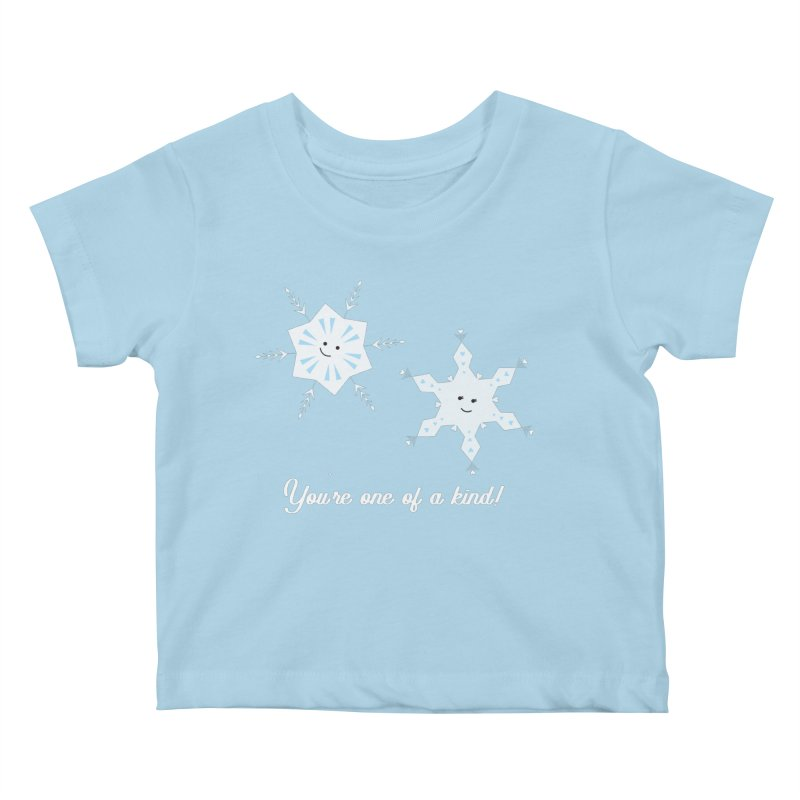 Snowflakes Kids Baby T-Shirt by {mostly} Smiling Sticks