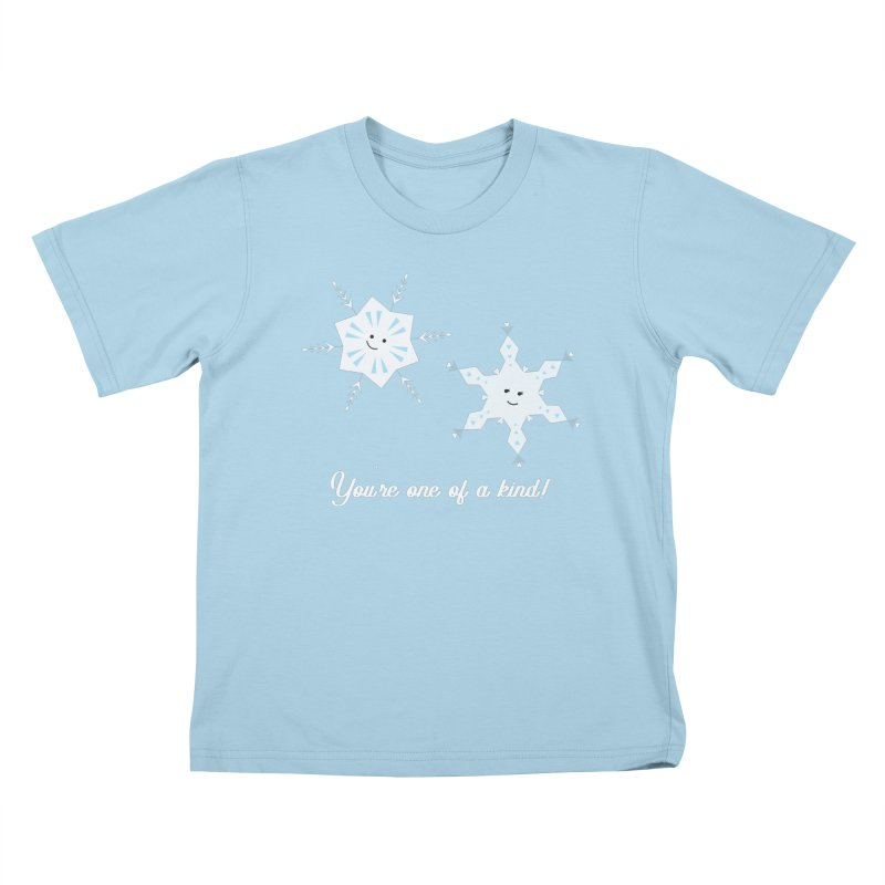 Snowflakes Kids T-Shirt by {mostly} Smiling Sticks