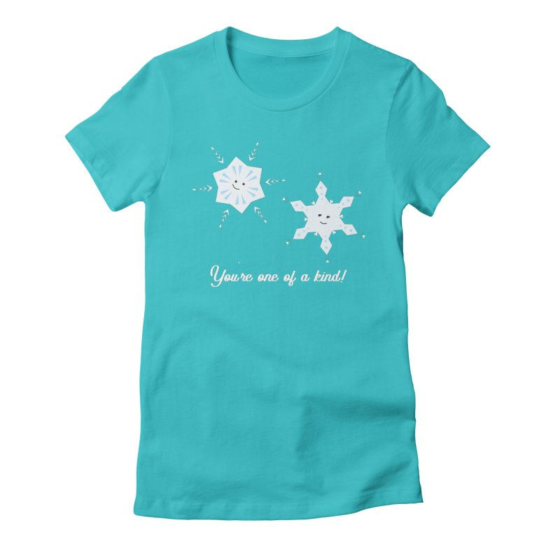 Snowflakes Women's Fitted T-Shirt by {mostly} Smiling Sticks