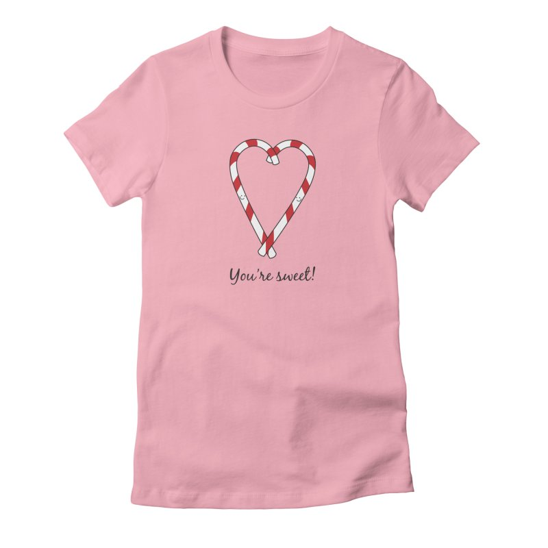 Candy Canes Women's Fitted T-Shirt by {mostly} Smiling Sticks