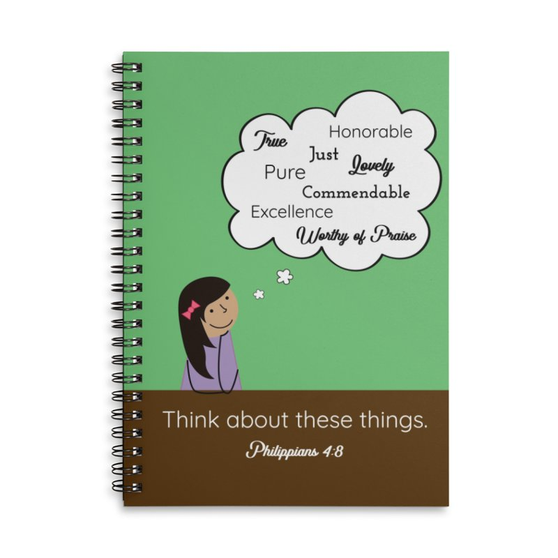 Think About These Things Accessories Lined Spiral Notebook by {mostly} Smiling Sticks