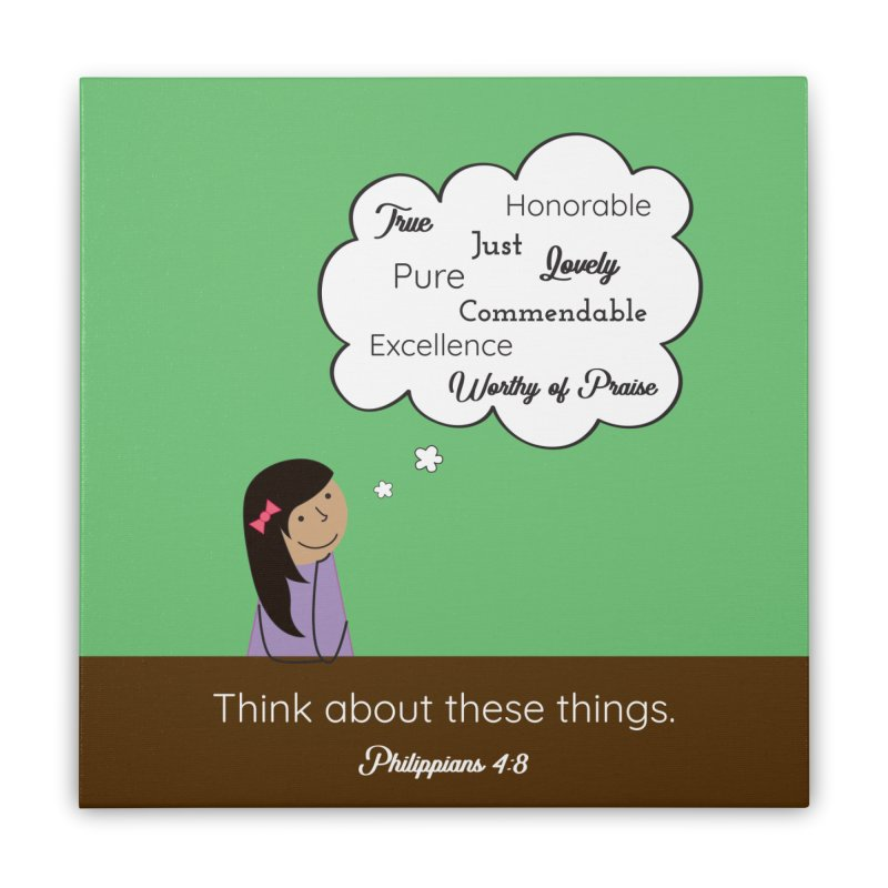 Think About These Things Home Stretched Canvas by {mostly} Smiling Sticks