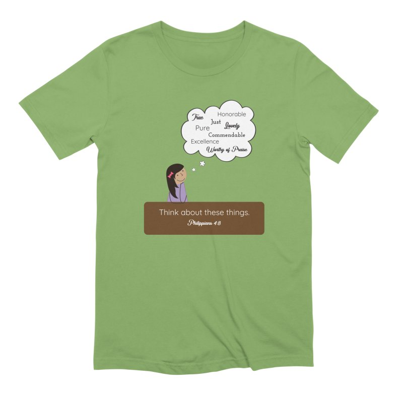 Think About These Things Men's Extra Soft T-Shirt by {mostly} Smiling Sticks