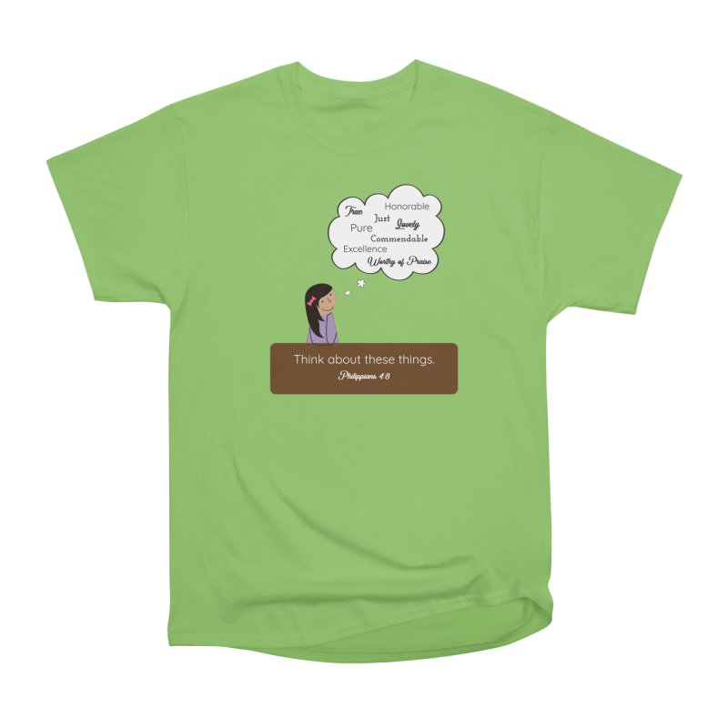 Think About These Things Women's Heavyweight Unisex T-Shirt by {mostly} Smiling Sticks