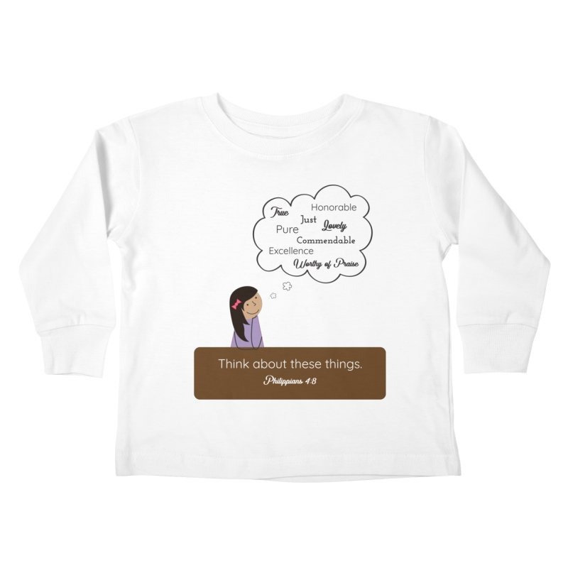 Think About These Things Kids Toddler Longsleeve T-Shirt by {mostly} Smiling Sticks