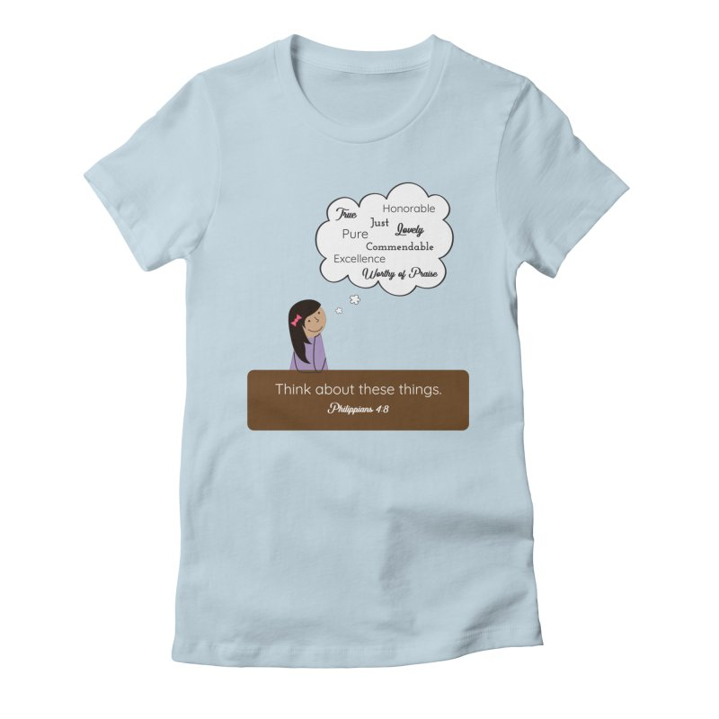 Think About These Things Women's Fitted T-Shirt by {mostly} Smiling Sticks