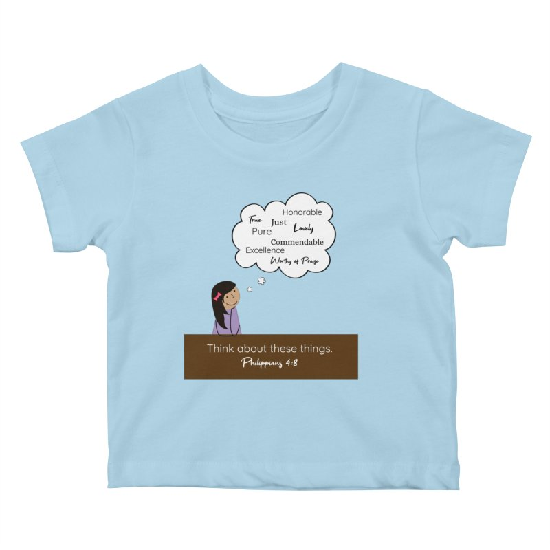 Think About These Things Kids Baby T-Shirt by {mostly} Smiling Sticks