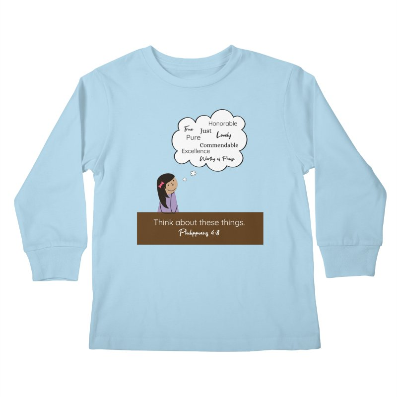 Think About These Things Kids Longsleeve T-Shirt by {mostly} Smiling Sticks