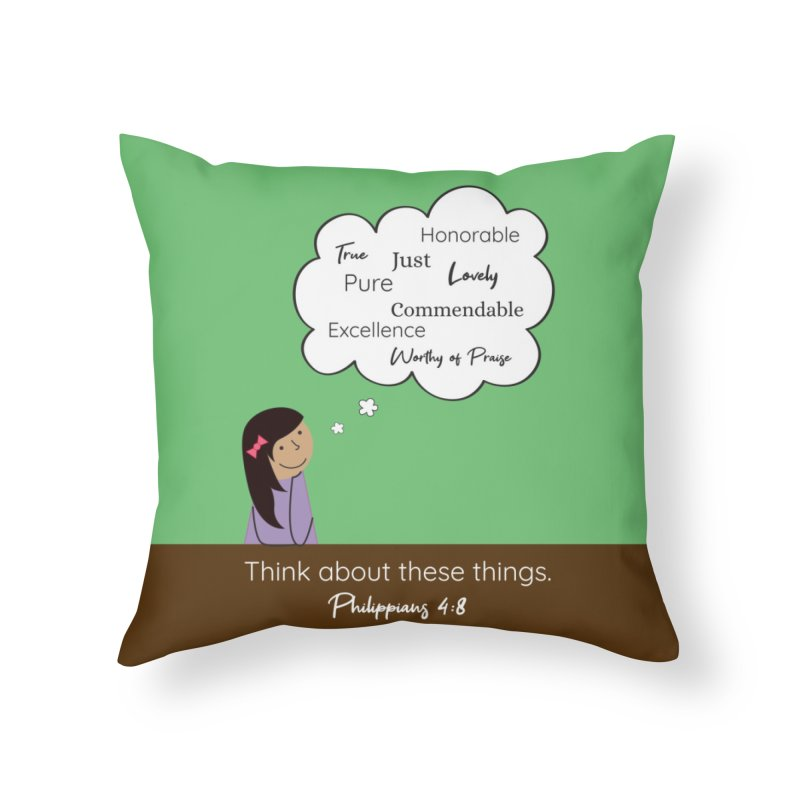 Think About These Things Home Throw Pillow by {mostly} Smiling Sticks