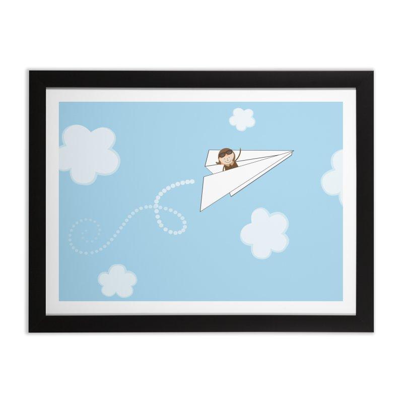 Paper Aeroplane Pilot Home Framed Fine Art Print by {mostly} Smiling Sticks