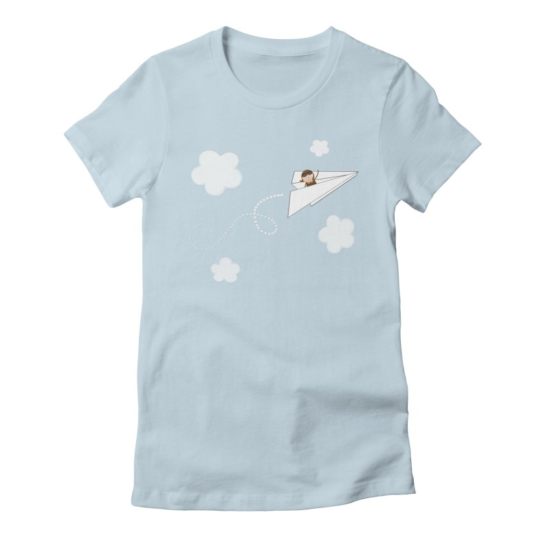 Paper Aeroplane Pilot Women's Fitted T-Shirt by {mostly} Smiling Sticks