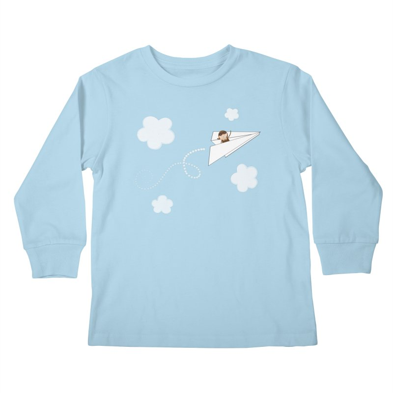 Paper Aeroplane Pilot Kids Longsleeve T-Shirt by {mostly} Smiling Sticks
