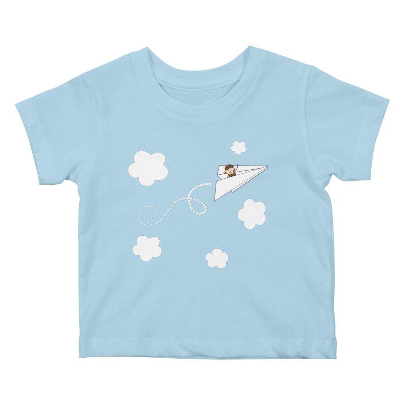 Paper Aeroplane Pilot Kids Baby T-Shirt by {mostly} Smiling Sticks