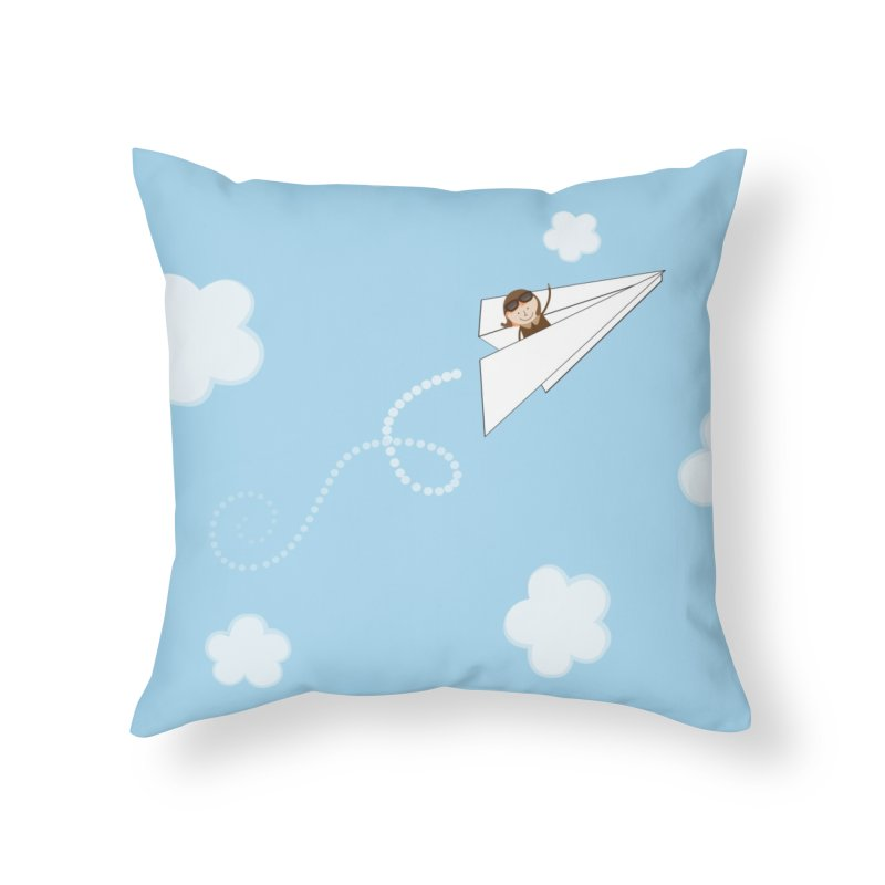 Paper Aeroplane Pilot Home Throw Pillow by {mostly} Smiling Sticks