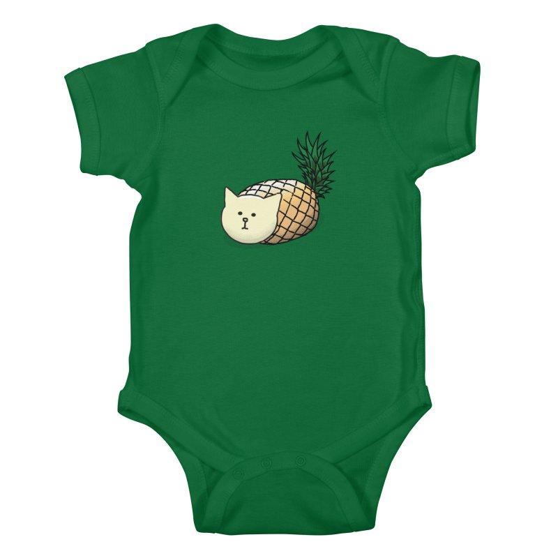 Pineapple Cat Kids Baby Bodysuit by smith's Artist Shop