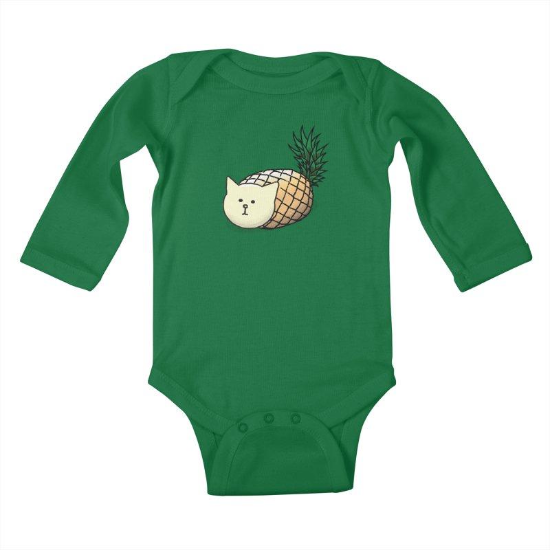 Pineapple Cat Kids Baby Longsleeve Bodysuit by smith's Artist Shop