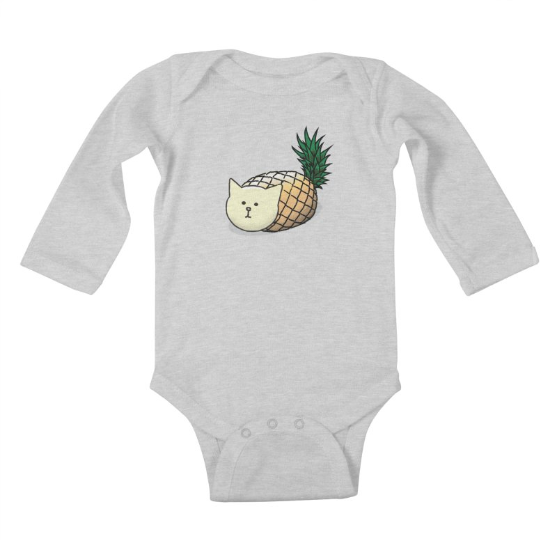 Pineapple Cat Kids Baby Longsleeve Bodysuit by smith's Artist Shop