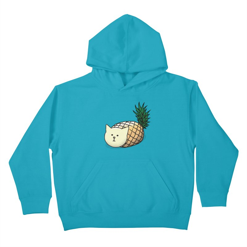 Pineapple Cat Kids Pullover Hoody by smith's Artist Shop