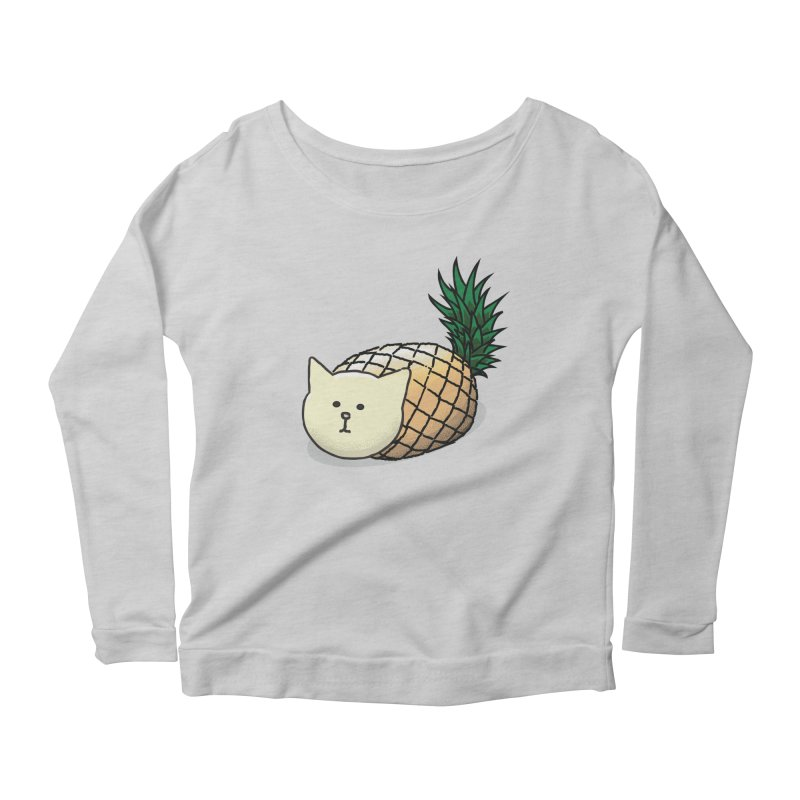 Pineapple Cat Women's Longsleeve Scoopneck  by smith's Artist Shop