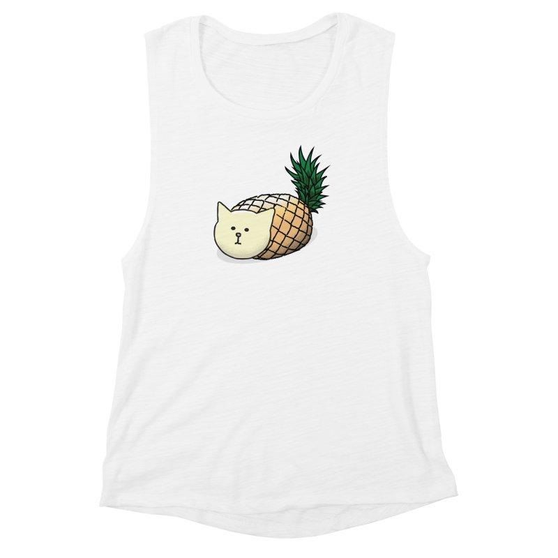Pineapple Cat Women's Muscle Tank by smith's Artist Shop