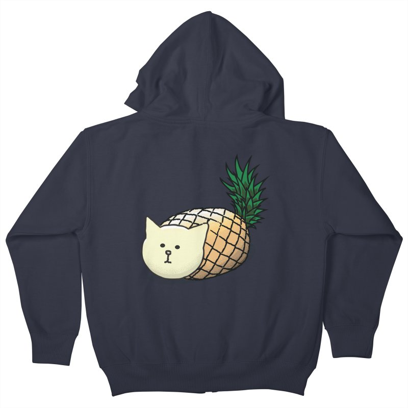 Pineapple Cat Kids Zip-Up Hoody by smith's Artist Shop
