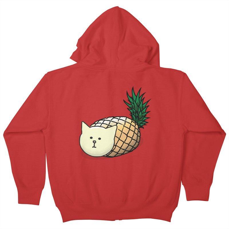 Pineapple Cat Kids Zip-Up Hoody by smith's Artist Shop