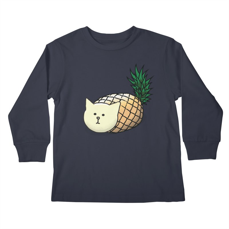 Pineapple Cat Kids Longsleeve T-Shirt by smith's Artist Shop