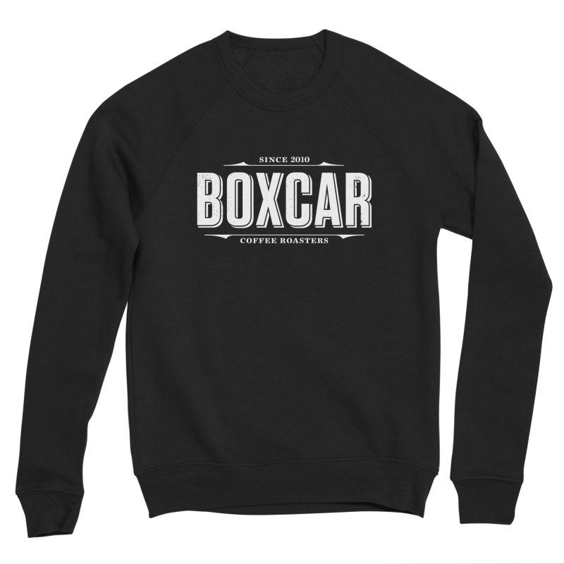 Boxcar Wordmark, White (distressed) Men's Sweatshirt by Smokeproof