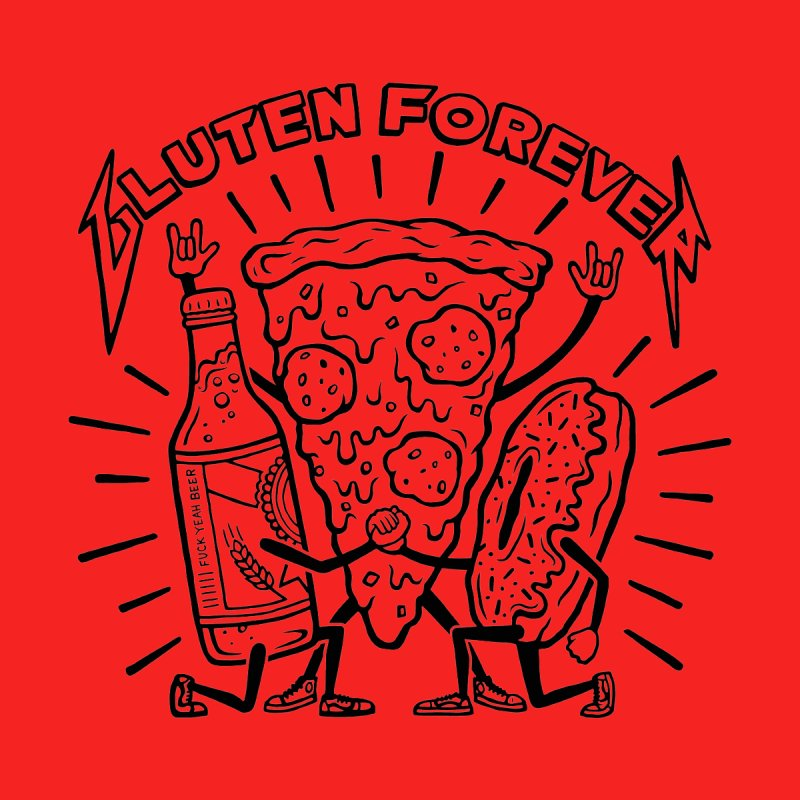 Gluten Forever Pizza Party - Color options by snackmachine's Artist Shop
