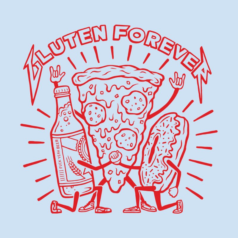 Gluten Forever Pizza Party - Men and Women's T-shirt by snackmachine's Artist Shop