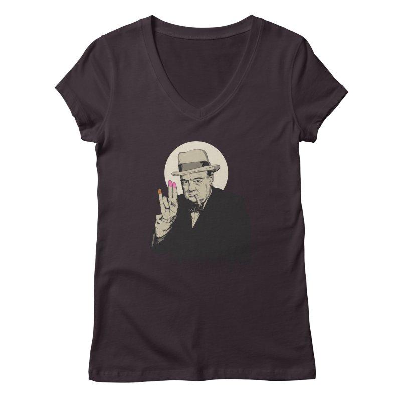 Churchill | The Shoker Women's V-Neck by Gabriel Mihai Artist Shop