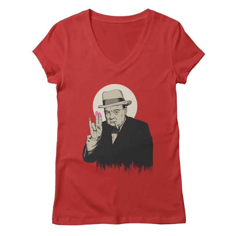 Churchill | The Shoker Women's Regular V-Neck by Gabriel Mihai Artist Shop
