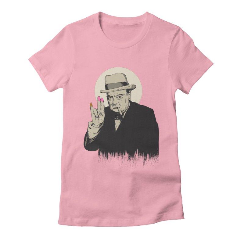 Churchill | The Shoker Women's Fitted T-Shirt by Gabriel Mihai Artist Shop