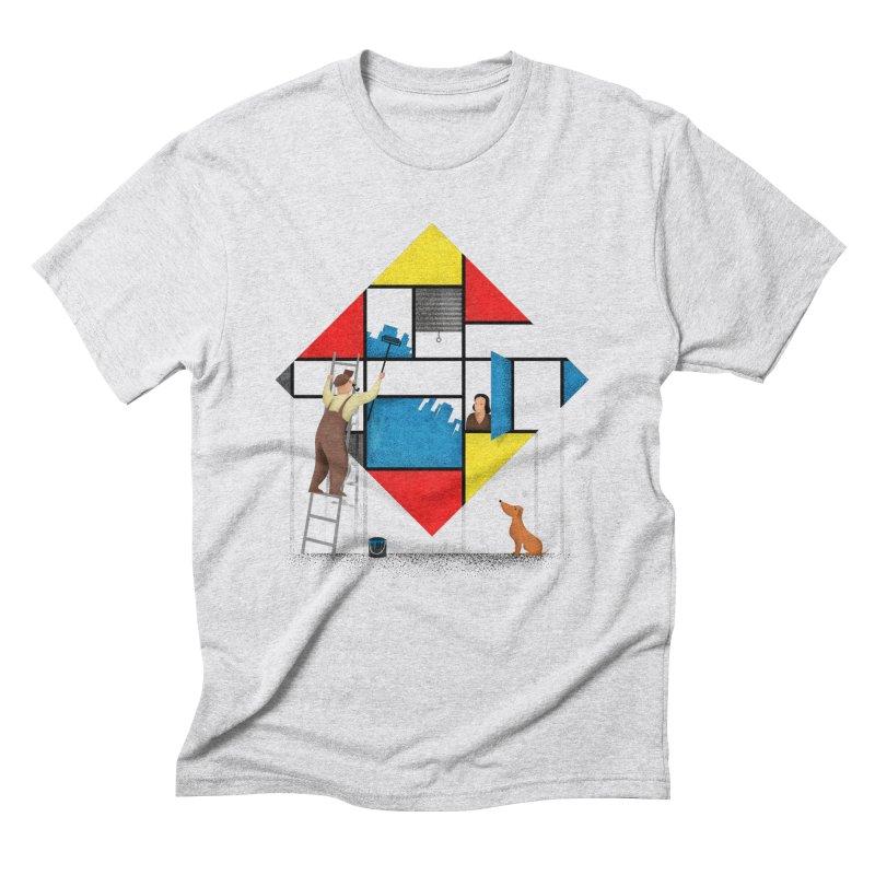 Mondri an' his house Men's T-Shirt by Gabriel Mihai Artist Shop
