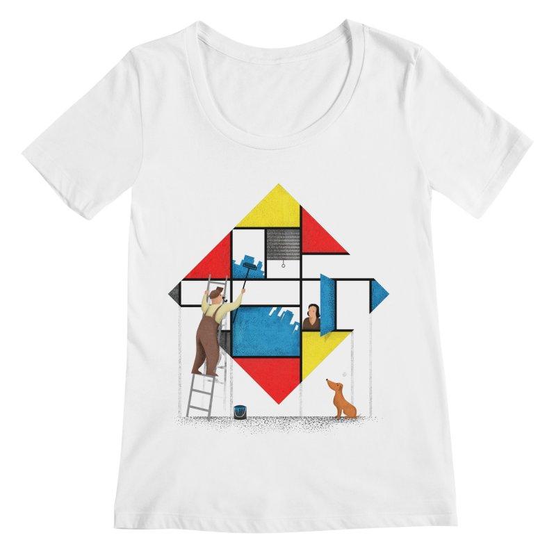 Mondri an' his house Women's Regular Scoop Neck by Gabriel Mihai Artist Shop