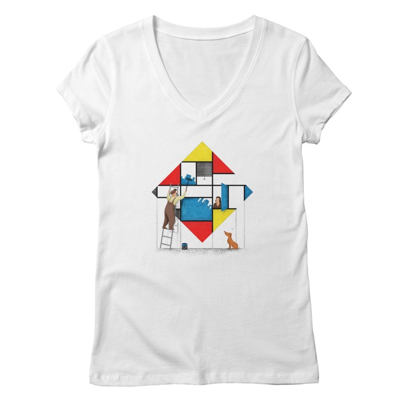 Mondri an' his house Women's V-Neck by Gabriel Mihai Artist Shop