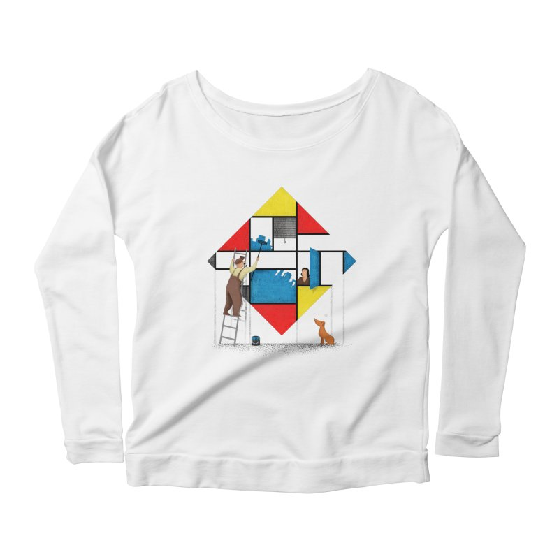 Mondri an' his house Women's Longsleeve Scoopneck  by Gabriel Mihai Artist Shop