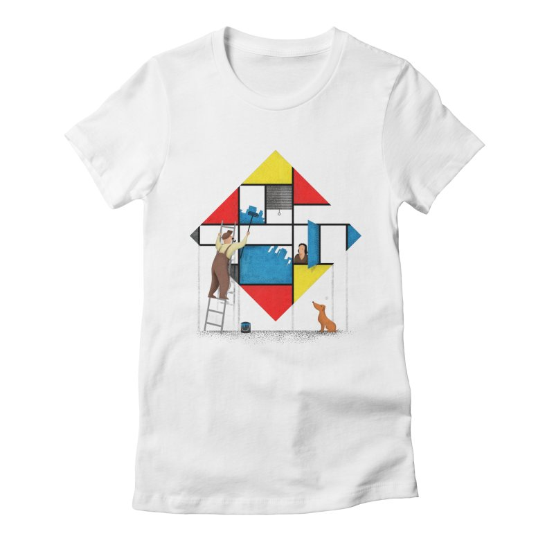 Mondri an' his house Women's Fitted T-Shirt by Gabriel Mihai Artist Shop