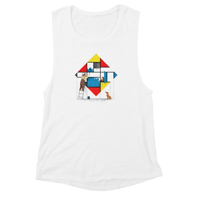 Mondri an' his house Women's Muscle Tank by Gabriel Mihai Artist Shop