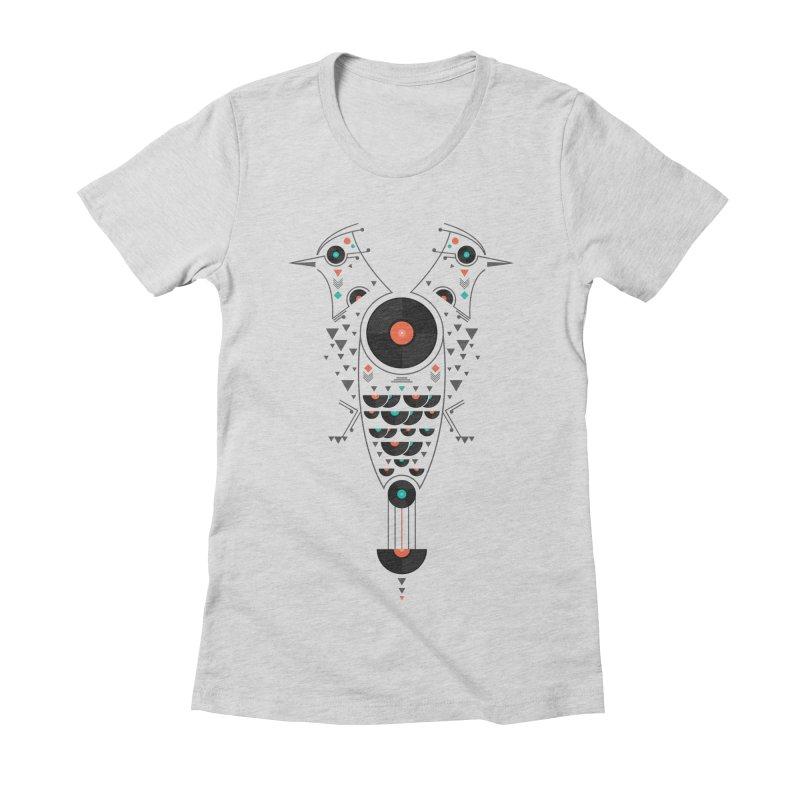 Vinyl Birds Women's Fitted T-Shirt by Gabriel Mihai Artist Shop