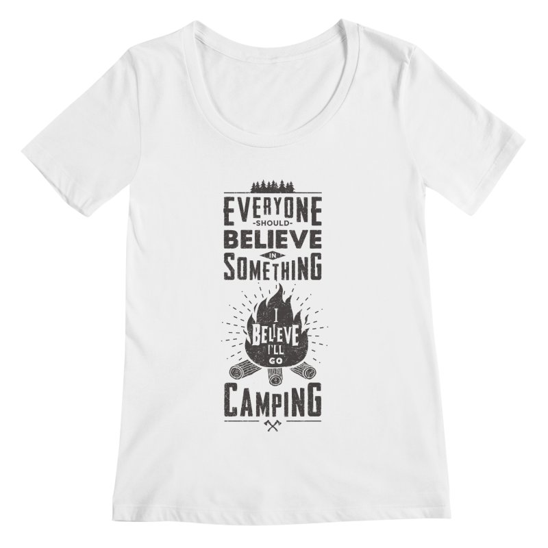 Camping Women's Regular Scoop Neck by Gabriel Mihai Artist Shop