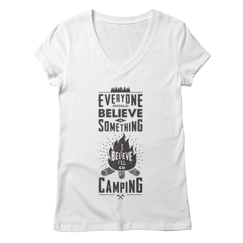 Camping Women's V-Neck by Gabriel Mihai Artist Shop