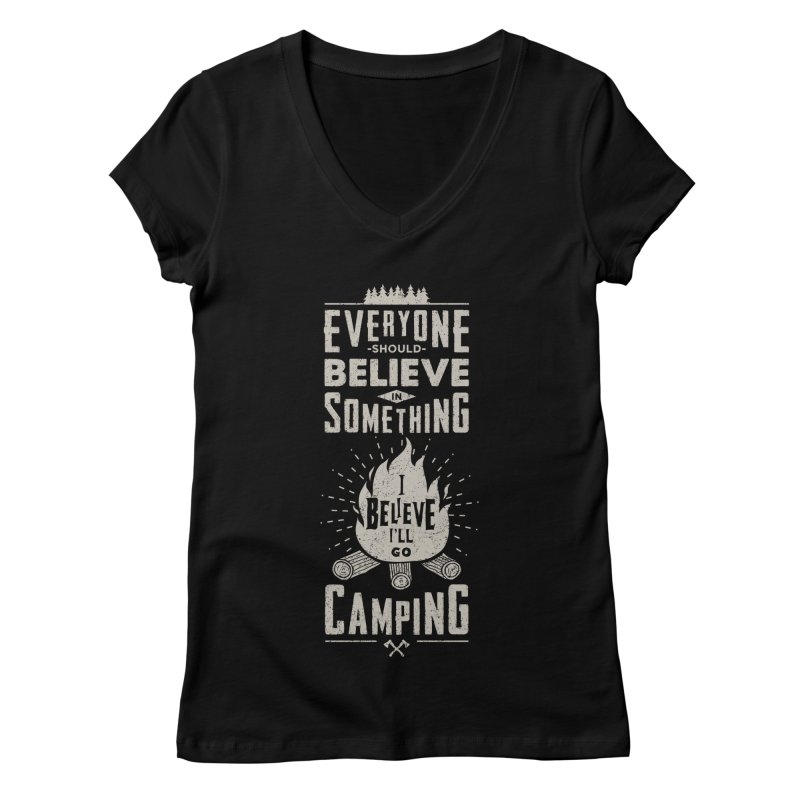 Camping v2 Women's V-Neck by Gabriel Mihai Artist Shop