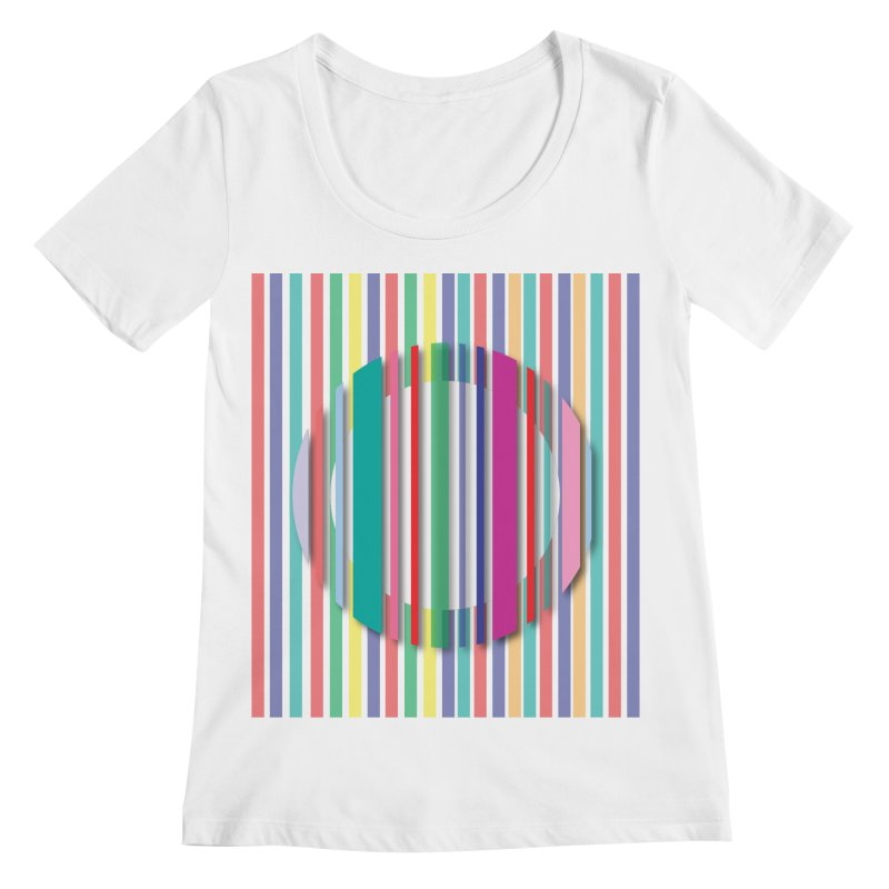Abstract_with_stripes Women's Regular Scoop Neck by snapdragon64's Shop