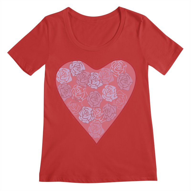 Heart filled with flowers Women's Regular Scoop Neck by snapdragon64's Shop